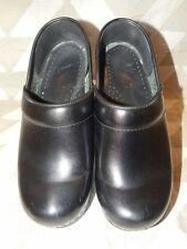 Dansko Black Leather Clogs-36