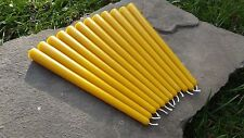 """12 - Hand Poured 10"""" Round 100% Beeswax Taper Candles All-Natural, Cotton Wicks"""