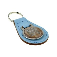 Light Blue Bonded Leather & Metal Keyring Awesome Grandad Looks Like Fathers Day