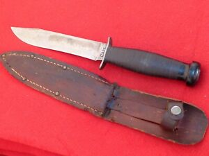 """Case 1940's era leather handled 10.5""""overall blood groove fixed blade knife WWII"""