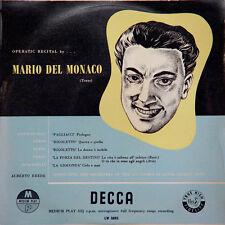 MARIO DEL MONACO Operatic Recital By.... UK Press Decca LW 5093 25 Cm / 10 Inche
