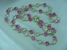 "Monet Swarovski Pink & Clear Crystals Bezel Set Gold Plated 34"" Necklace   #1635"