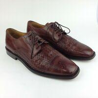 Johnston Murphy Brown Leather Cap Toe Basketweave Oxfords Shoes Mens Size 9 M
