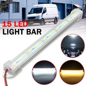 12V 15LEDs Interior Strip Light Tube Bar Lamp White Car Caravan Boat Home