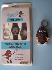 1987 CALIFORNIA RAISINS OFFICIAL FAN CLUB WATCH SET & KEYCHAIN COIN PURSE MOC