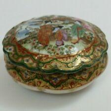 Antique Chinese Powder Bowl & Lid Ceramic