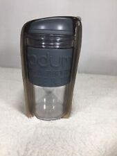 Bodum Double Wall Thermal Travel Mug  12 Oz. Clear Tumbler W/ Sleeve Grey Color