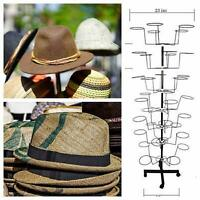 7 Tiers Hat/Cap Display Retail Hat Cap Rack Rotating Spinner Metal Stand Floor