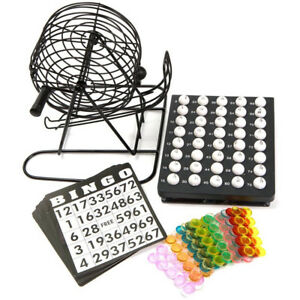CLASSIC BINGO 75 BALL WHEEL WIRE CAGE LOTTO GAME SET WITH CARD MARKER TICKET SET
