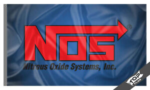 NOS Flag Banner 3x5 ft Nitrous Oxide Systems White Racing Car