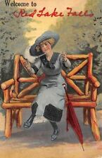 """""""Welcome to"""" Red Lake Falls Minnesota~Victorian Lady With Open Arms~Bench~1912 P"""