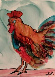 "Aceo art Print farm bird rooster by Lynne Kohler 2.5x3.5"""
