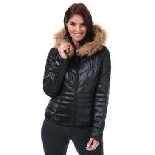 Women's Vero Moda Soraya Siv Funnel Neck Faux Fur Trim Quilted Jacket in Black