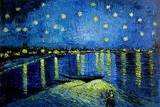 Hand Painted Oil Painting, Van Gogh Starry Night over the Rhone Repro, 24x36in