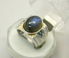 Michael Valitutti NH Labradorite Oval Stone Sapphire Sterling Silver Band Ring