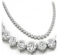 "15 ct Round Diamond Graduated 14k White Gold Over Tennis Necklace Half Bezel 16"""