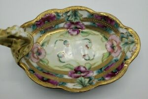 Pre 1921 Victorian Gold Moriage Hand Painted Nippon Candy Dish Maple Leaf Mark