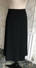 SIZE 16 VINTAGE BLACK CREPE A LINE MIDI SKIRT TWO SMALL WAIST POCKETS QUALITY