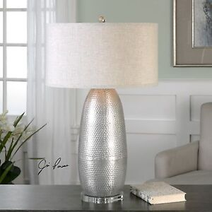 TARTARO BURNISHED SILVER HAMMERED METAL ACCENT TABLE LAMP CRYSTAL BASE LIGHT