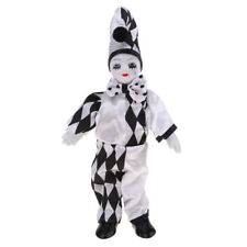 10inch Adorable Porcelain Standing Clown Man Doll in Black & White Clothes