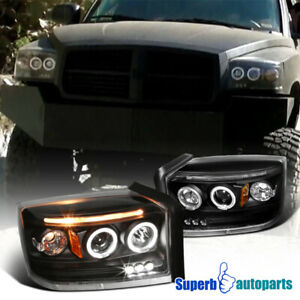 For 2005-2007 Dodge Dakota Dual LED Halo Projector Headlights Black Replacement