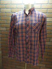 Vtg 60s sz 11 Blue Red Tartan Plaid button down collar Shirt Top Rockabilly