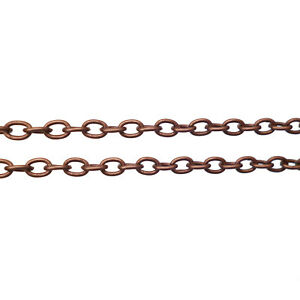 Antique Copper 3x4mm Iron Oval Cable Assembled Chain Necklace Various Lengths