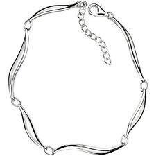 Element Sterling Silver, Ladies Linked Leaves Bracelet, Length 18 + 3 cm B3466