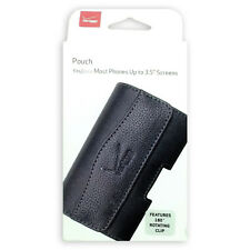 """Verizon Authentic Leather Pouch For Most Phones with Screen Up to 3.5"""" - Black"""