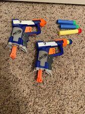 Lot of 2 NERF N-Strike Jolt Soft Dart Guns Blue & White w 5 Darts toy gift