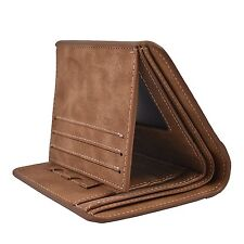 BROWN Genuine Cowhide Leather Handmade Bifold Men's Wallet Cash ID Card Slots