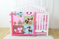 4 Piece Animal Fairyland Baby Nursery Crib Bedding Set