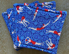 Set of 4 Reversible Absorbent Fabric Coasters Swimmers Swimming Mid Century New
