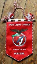 Rare Vintage Sport Lisboa E Benfica Portugal Satin Football Pennant Banderin