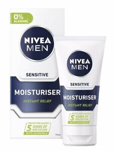 2 x Nivea Men Sensitive Face Moisturiser Relief Shave Skin Protection 75ml