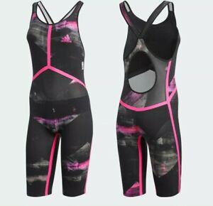 "$469 Adidas Adizero XVIII Freestyle 1 Piece Open Back Women's Swimsuit Size 34"""