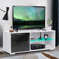 High Gloss TV Stand Cabinet Unit w/LED Light Shelves Modern Entertainment Center