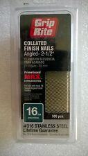 """Grip Rite 16 Ga. Collated Finish Nails Angled 2-1/2"""" Stainless Steel 500 pcs."""