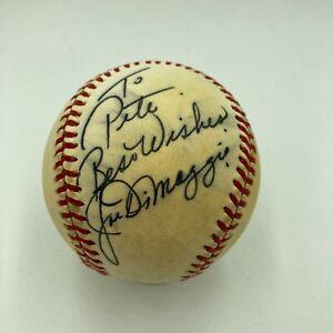 """Joe Dimaggio Signed Autographed American League Baseball """"To Pete"""" JSA COA"""
