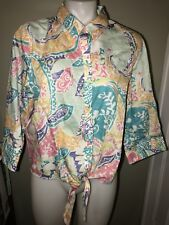 chicos 2 Top Tie Waist Tropical Colors Print Button Up Shirt Blouse