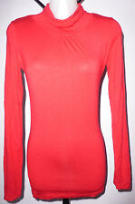 MISS SHOP Size 6 Red Polo Neck Viscose Top
