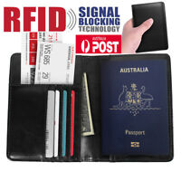 Mens Leather Wallet Purse Credit Card Passport Holder RFID Blocking Anti Scan AU