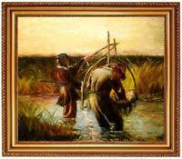 Ölbild Fischer, Fischteich, Landschaft, Gemälde Ölgemälde signiert F:50x60cm
