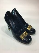 Tory Burch $328 Blue Patent Leather Gold Spike Block Heel Pumps Womens Size 7 M
