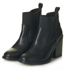 Topshop Black Leather Elastic 'Moon' Ankle Boots - Brand New With Defects Size 6