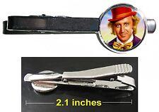 Willy Wonka Gene Wilder Chocolate Factory Tie Clip Clasp Bar Slide Silver Metal