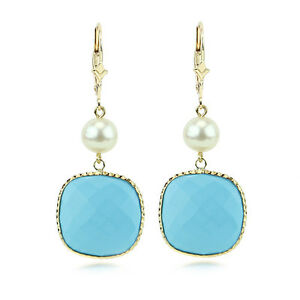 14K Yellow Gold Gemstone Earrings With Pearls And Turquoise