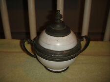 Antique Ceramic & Pewter Double Handle Sugar Bowl-Russian?-Unusual-Asian Bowl?