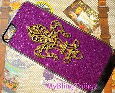 "For iPhone 5 -Hot Pink Glitter Bling Studded Brass ""FLEUR DE LIS"" Hard Back Case"