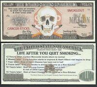 Lot of 100 BILLS- STOP SMOKING / ONE MILLION SMOKE-FREE DOLLARS